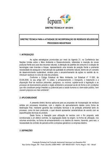 Diretriz Técnica nº. 001-2010 - Incorporação de resíduos - Fepam