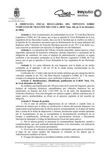 Ordenanza fiscal reguladora del impuesto sobre vehículos de ...
