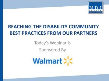 Reaching the Disability Community Best Practices from Our Partners