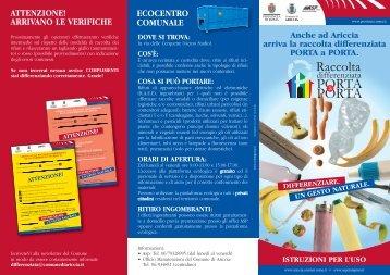 Pieghevole sulla raccolta differenziata.pdf - Comune di Ariccia