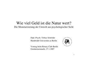 Wie viel Geld ist die Natur wert? - Tobias Schröder
