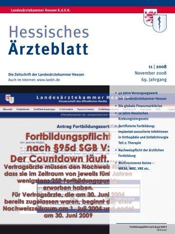 Hessisches Ärzteblatt November 2008 - Landesärztekammer Hessen