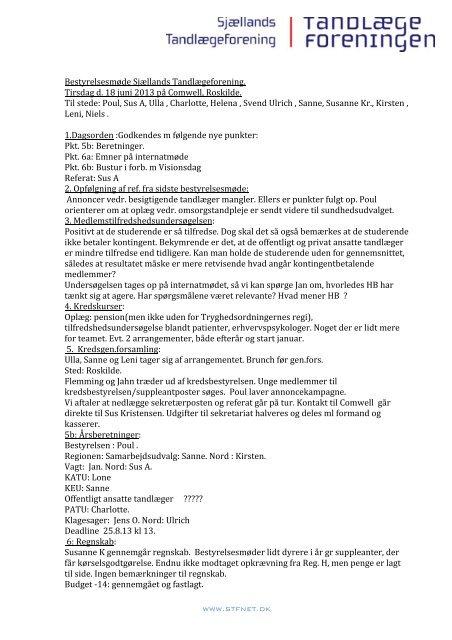 18. 06. 2013 Referat - Sjællands Tandlægeforening