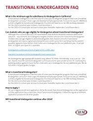 Transitional Kindergarten FAQ
