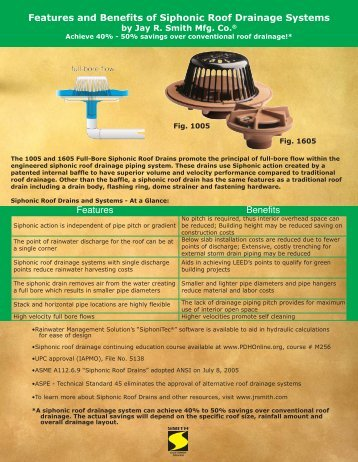 Flyer Siphonic Roof Drains Benefits - Jay R. Smith MFG Co.