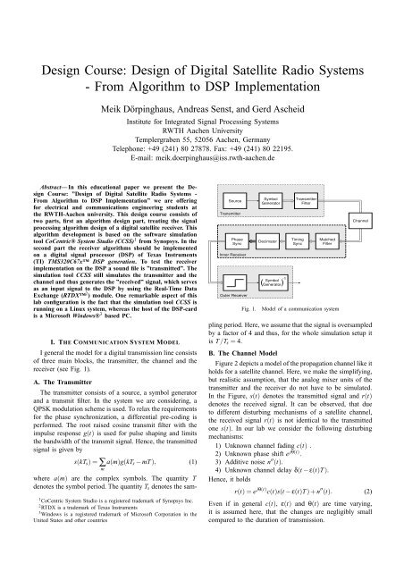 From Algorithm to DSP Implementation - ICE - RWTH Aachen