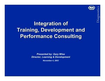 Integration of Training, Development and Performance Consulting