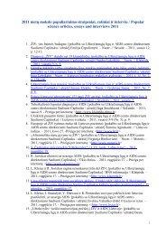 2011 metų mokslo populiarinimo straipsniai, rašiniai ir interviu ...