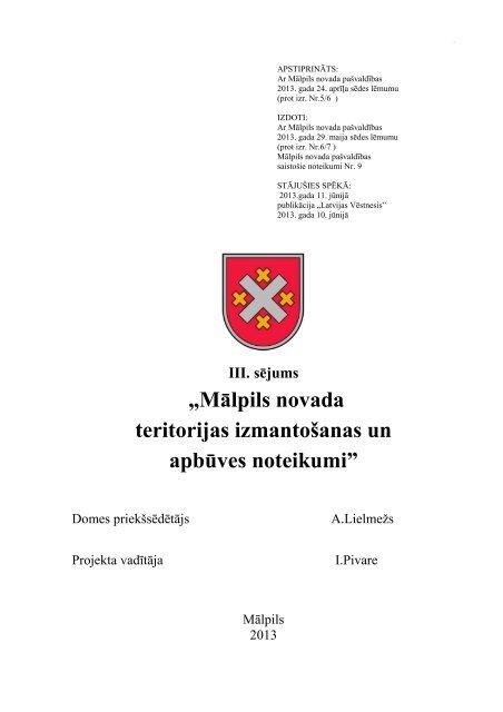 Mālpils novada teritorijas izmantošanas un apbūves noteikumi