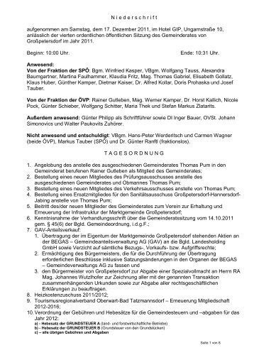 Protokoll der Gemeinderatssitzung vom 1 - Marktgemeinde ...