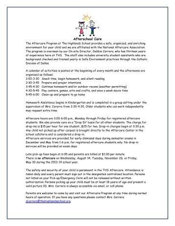 After-School Care Information & Enrollment Form - The Highlands ...