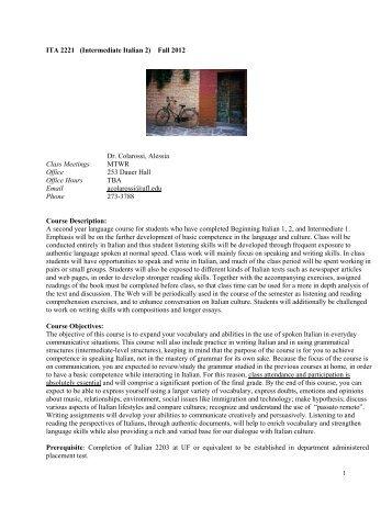 ITA 2221 - Department of Languages, Literatures, and Cultures ...