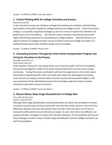 1. Critical Thinking Skills for College Transition and Success 2 ...