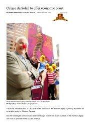 Cirque du Soleil to offer economic boost - Tourism Calgary