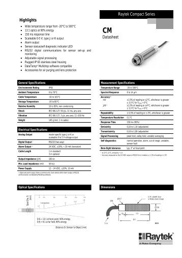 to download the Raytek CM datasheet in PDF format