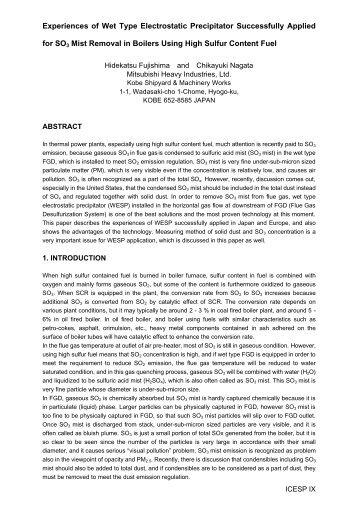 Experiences of Wet Type Electrostatic Precipitator ... - isesp