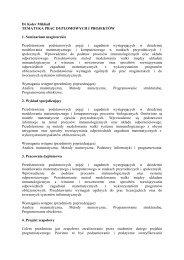 Dr Kolev Mikhail TEMATYKA PRAC DYPLOMOWYCH I ...
