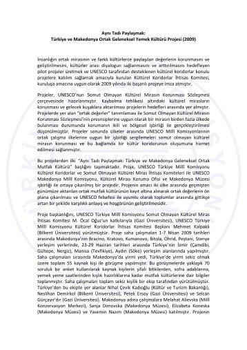 Türkiye ve Makedonya Ortak Geleneksel Yemek Kültürü ... - Unesco