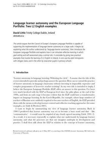 Language learner autonomy and the European Language Portfolio ...
