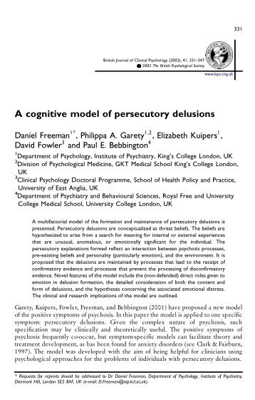 A cognitive model of persecutory delusions