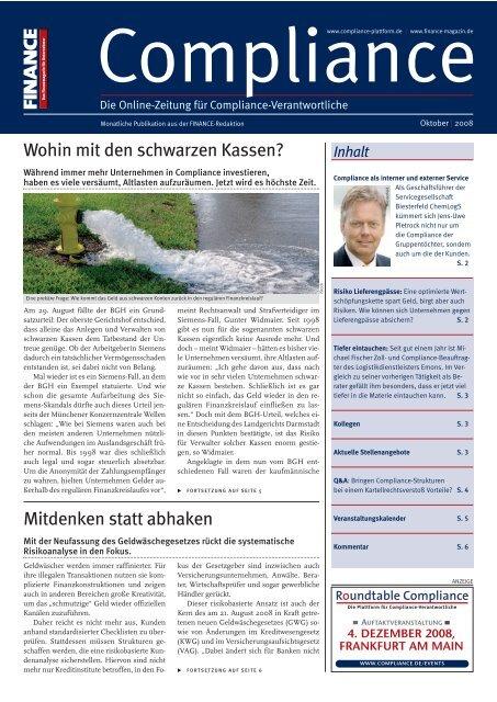(PDF)   Ausgabe Oktober 2008 - Compliance