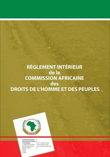 RÈGLEMENT INTÉRIEUR de la COMMISSION AFRICAINE des ...
