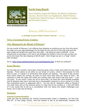 Earth Song Ranch February 2008 News Letter!