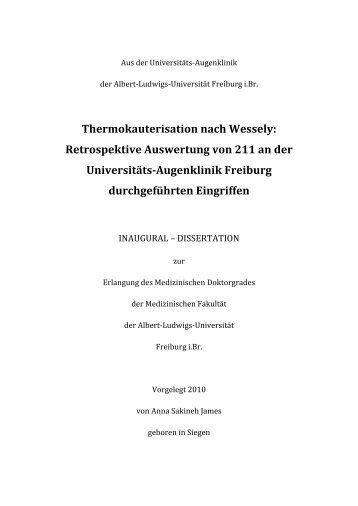 Thermokauterisation nach Wessely: Retrospektive Auswertung von ...