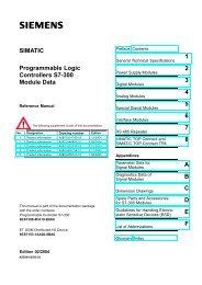 SIMATIC Programmable Logic Controllers S7-300 Module Data