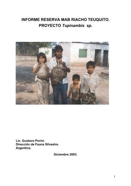 Informe Reserva MAB Riacho Teuquito - Proyecto Tupinambis