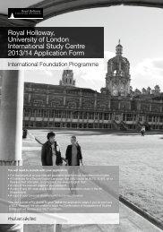 Royal Holloway, University of London International Study Centre ...