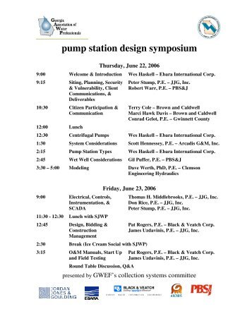 pump station design symposium - Georgia Association of Water ...
