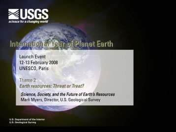 Mark Myers - International Year of Planet Earth