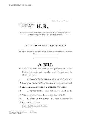 Embassy Security and Enhancement Act of 2013 - House Foreign ...