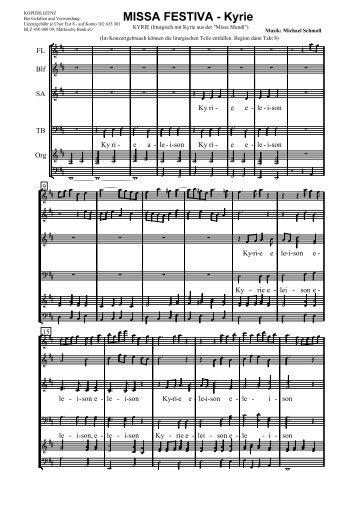 Missa Festiva KYRIE.cap - Schmoll-Musik - T-Online