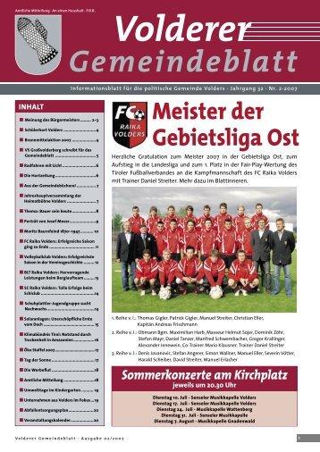 Gemeindeblatt / Ausgabe 2/2007 - Volders