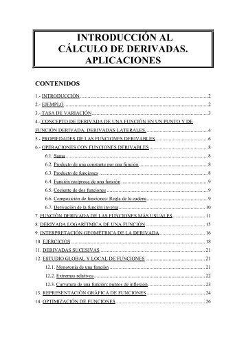 INTRODUCCIÓN AL CÁLCULO DE DERIVADAS. APLICACIONES