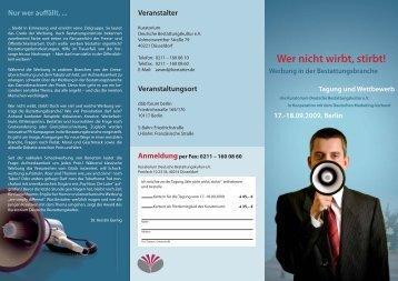 Flyer Tagung (PDF) - Bundesverband Deutscher Bestatter e.V.
