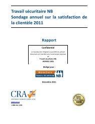 Sondage annuel sur la satisfaction de la clientèle - Travail ...
