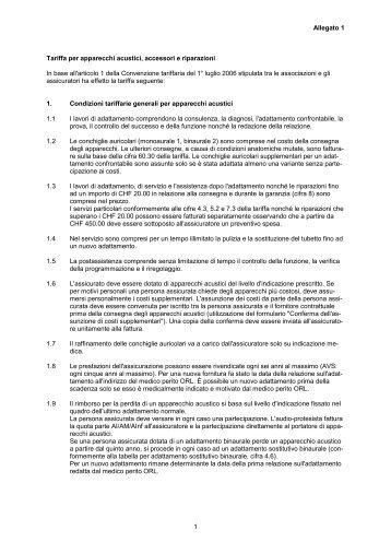 Allegato 1 1 Tariffa per apparecchi acustici, accessori e riparazioni ...