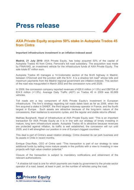 Press Release Autopista Trados 45 pdf - Axa Private Equity