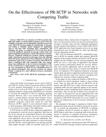 On the Effectiveness of PR-SCTP in Networks with Competing Traffic