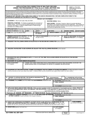 dd form 149, oct 2011 application for  - us navy
