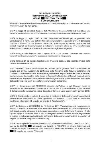 Delibera 28/12/CRL - Corecom Lazio