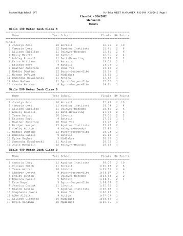 Class B-C - 5/26/2012 Marion HS Results Girls 100 Meter Dash ...