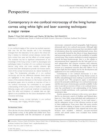 Contemporary in vivo confocal microscopy of the living human ...
