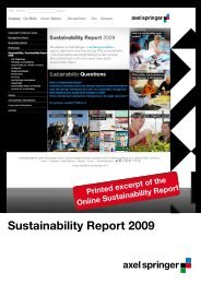 Sustainability Report 2009 (PDF) - Axel Springer AG