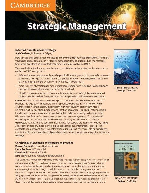 Strategic Management.cdr - Cambridge University Press India