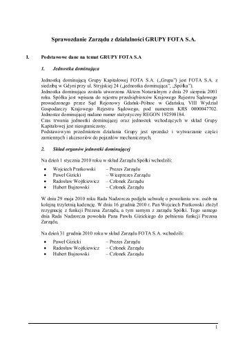 Sprawozdanie zarządu z działalności spółki - Fota
