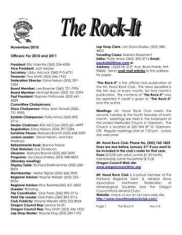 November/2010 Officers: For 2010 and 2011 - Mount Hood Rock Club
